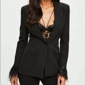 Jackets & Blazers - Missguided Black Tailored Feather Cuff Blazer